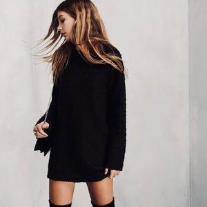 Reformation Lokie Mini Black Sweater Dress
